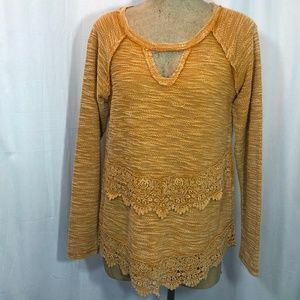 Maurices Distressed Lace Sweater Exposed Seams
